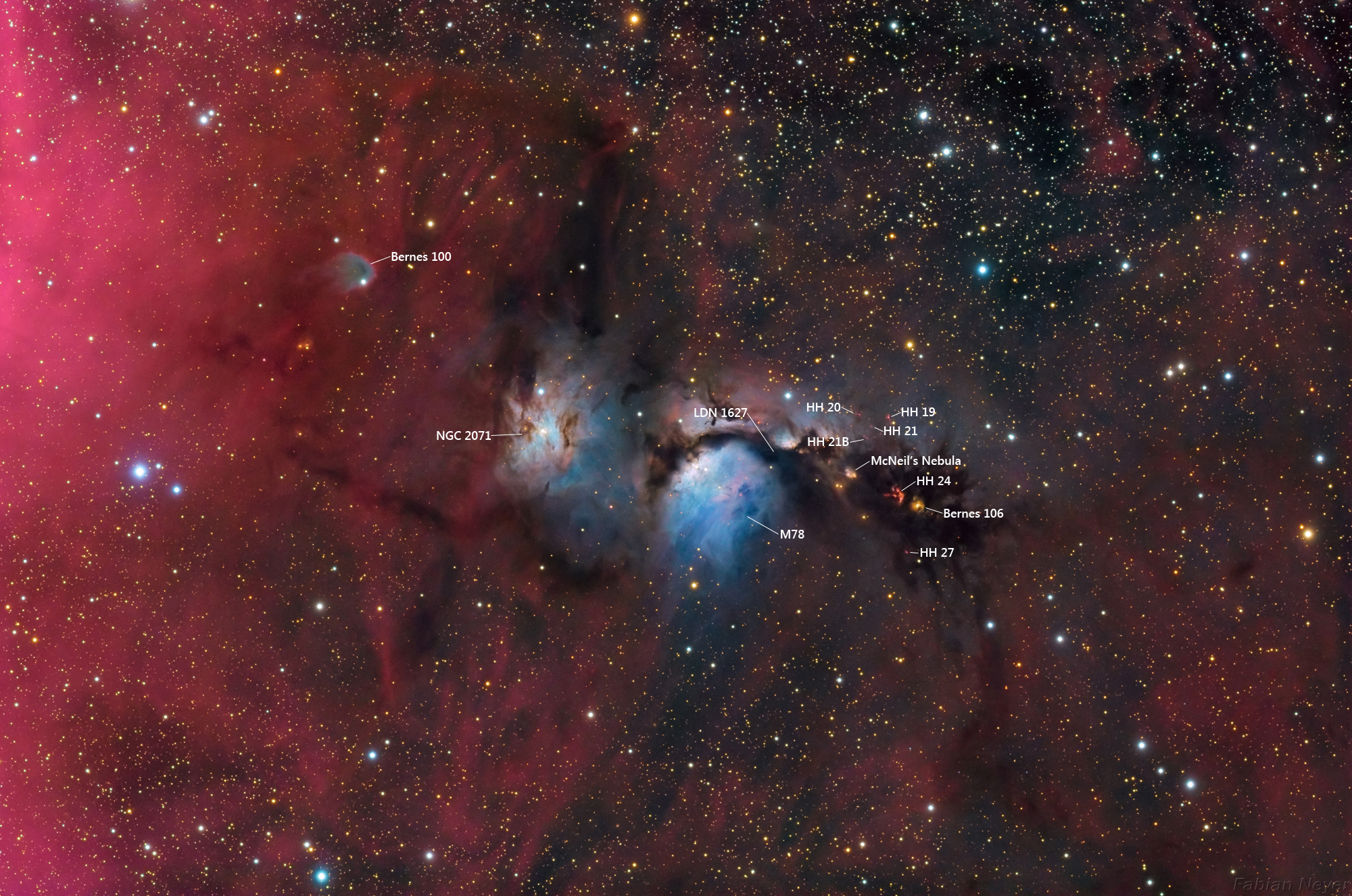 M78 Nebula Labeled